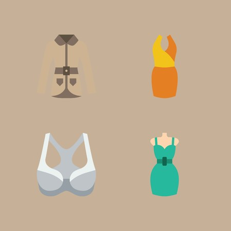 Icon set about woman clothes with bra, dress and coat. Ilustração