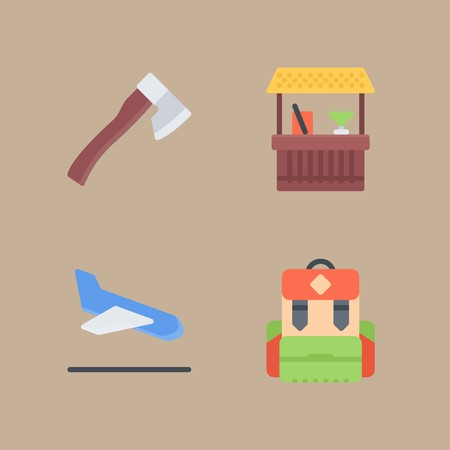 icon set about beach and camping with cocktail , axe and pack