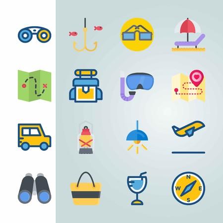 Jeu d'icônes sur la plage et le camping. avec avion, électrique et voiture Banque d'images - 94429153