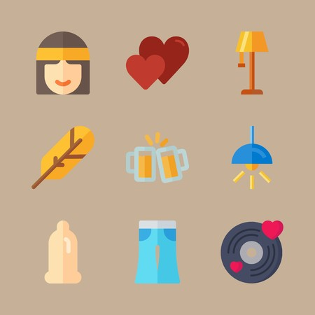 icon set about hippies with electric , toast and style