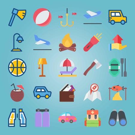 Jeu d'icônes sur la plage et le camping. avec lampe, emplacement et poisson en train de cuire Banque d'images - 94457717