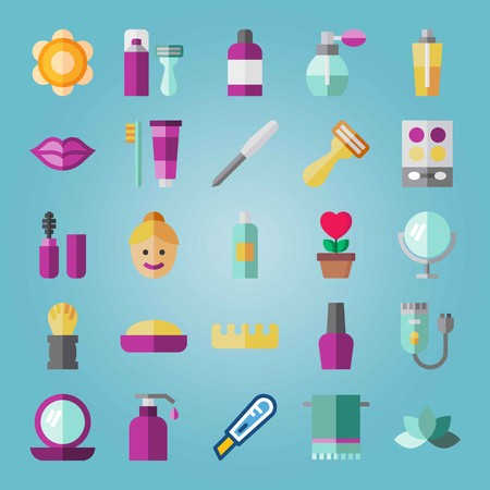 Icon set about Beauty. with mascara, shaving set and kiss