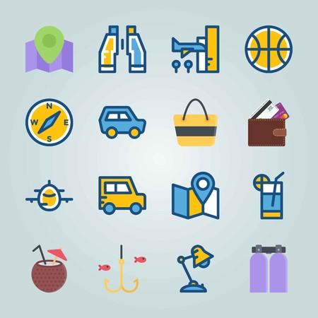 Jeu d'icônes sur la plage et le camping. avec arrivée, aéroport et cocktail Banque d'images - 94457726