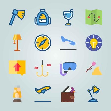 Jeu d'icônes sur la plage et le camping. avec cartes de crédit, départ et idée Banque d'images - 94458266