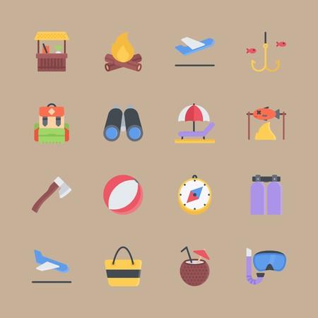 Jeu d'icônes sur la plage et le camping avec sac de plage, lunettes de plongée et chasse Banque d'images - 94458267