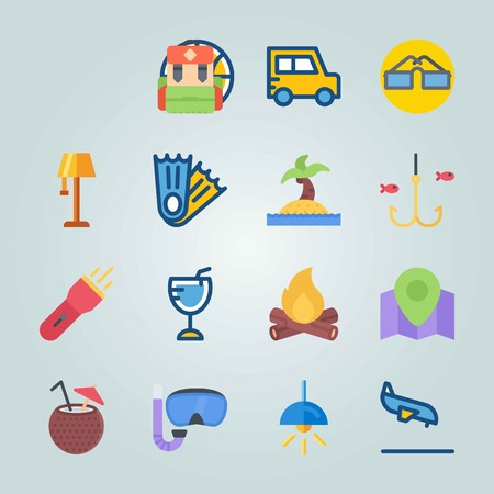 Jeu d'icônes sur la plage et le camping avec sac à dos, arrivée et pêche Banque d'images - 94458380