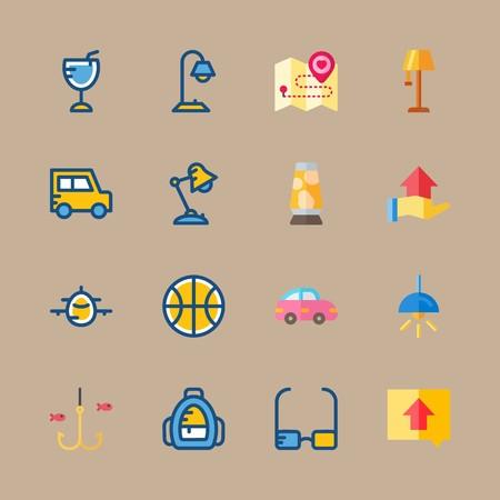 Jeu d'icônes sur la plage et le camping avec aéronef, direction et boisson Banque d'images - 94459343