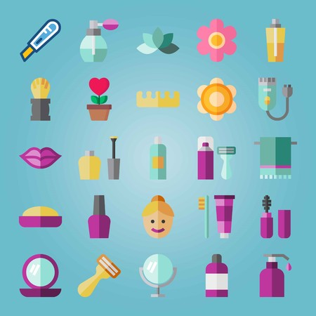 Icon set about Beauty. with pink flower, shaver machine and odor Illustration