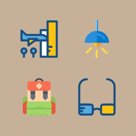 icon set about beach and camping with lamp, backpack and airplane