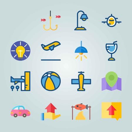 Jeu d'icônes sur la plage et le camping. avec direction, chasse et avion Banque d'images - 94459546