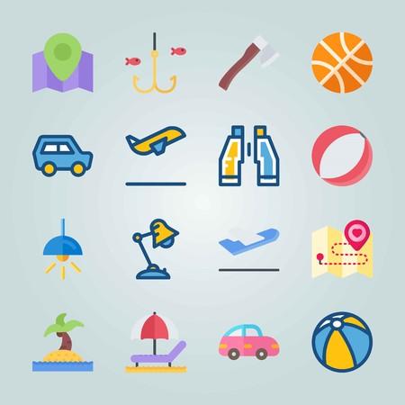 Jeu d'icônes sur la plage et le camping. avec des jumelles, un arbre sur une île et un avion Banque d'images - 94529899