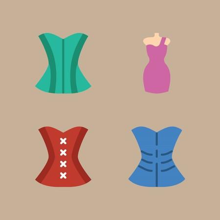 코르 셋와 드레스 여자 옷에 대 한 아이콘을 설정