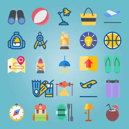 Icon set about Beach And Camping. with coconut, flip-flops and compass
