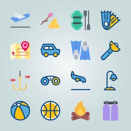 Jeu d'icônes sur la plage et le camping. avec brûlant, ballon de plongée et voiture Banque d'images - 94530042