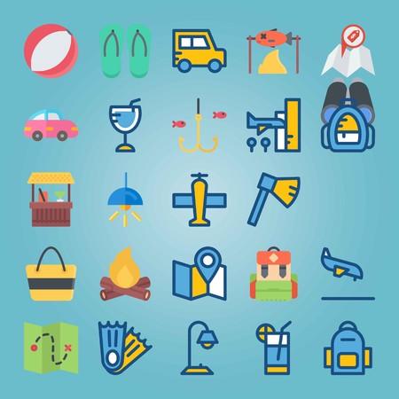 Jeu d'icônes sur la plage et le camping. avec jumelles, boisson et jet Banque d'images - 94530145
