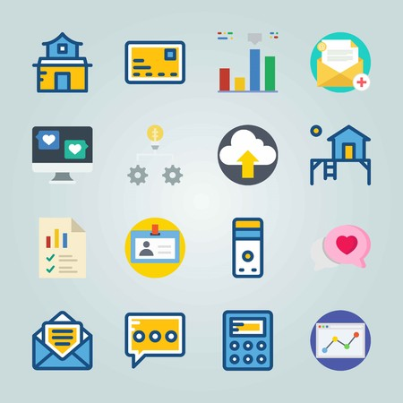 Icon set about Digital Marketing. with home, diagram and id card Illustration