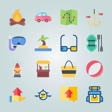 Jeu d'icônes sur la plage et le camping. avec îlot, feu et bois Banque d'images - 94530255