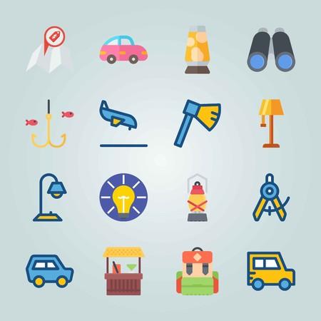 Jeu d'icônes sur la plage et le camping. avec hache, boussole et voiture rose. Banque d'images - 94397607