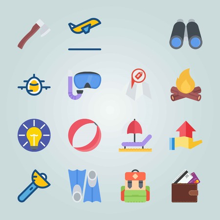 Icon set about Beach And Camping. with flippers, binoculars and deck chair