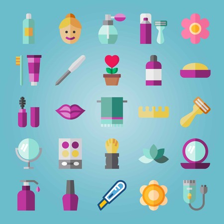 Icon set about Beauty. with shaving , shaver and towel. Illustration