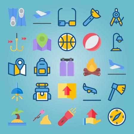 Jeu d'icônes sur la plage et le camping. avec direction, sac à dos et poisson Banque d'images - 94530345