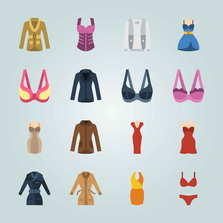 Icon set about Woman Clothes. with bra, coat and dress