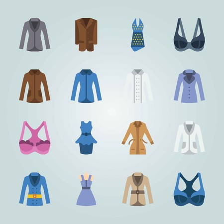 Icon set about Woman Clothes. with bra, dress and coat