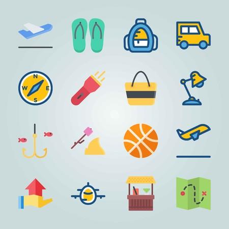 Jeu d'icônes sur la plage et le camping. avec sac à dos d'école, sac à dos et basket Banque d'images - 94459627