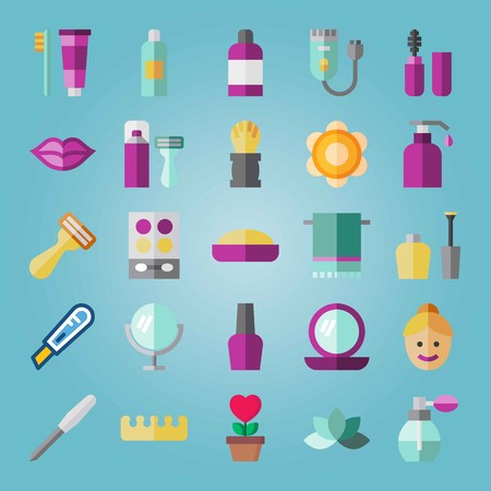 Icon set about Beauty. with perfume, toothbrush and makeup set Illustration