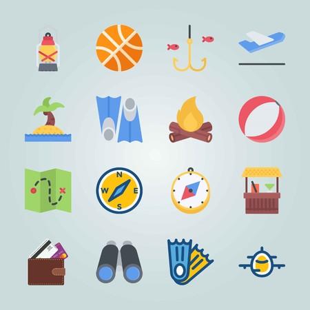 Jeu d'icônes sur la plage et le camping. avec ccompass, cocktail et avion Banque d'images - 94459692