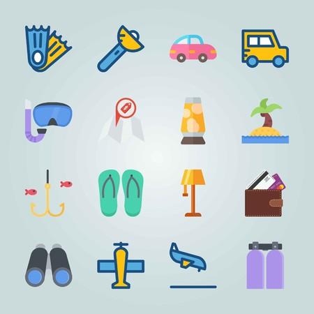 Jeu d'icônes sur la plage et le camping. avec tongs, poisson et voiture Banque d'images - 94530478