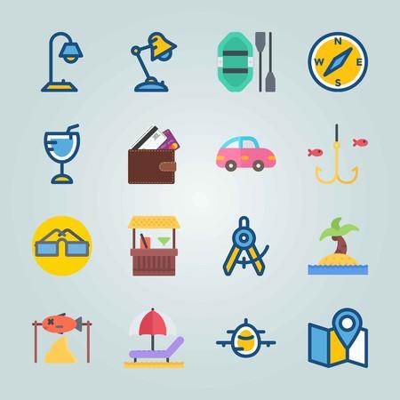 Jeu d'icônes sur la plage et le camping. avec bateau pneumatique, voiture et boussole Banque d'images - 94530568