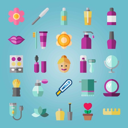 Icon set about Beauty. with shaving set, lotion and nail file