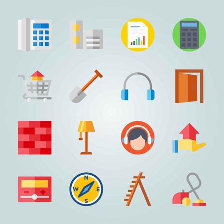Icon set about Real Assets. with face, house and building Иллюстрация