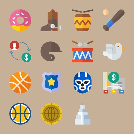 Icon set about United States. with money, exchange and diagram. Illustration