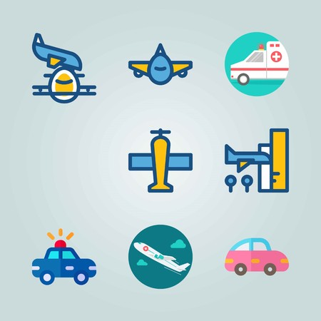 Icon set about Transport. with airplane, car and plane.