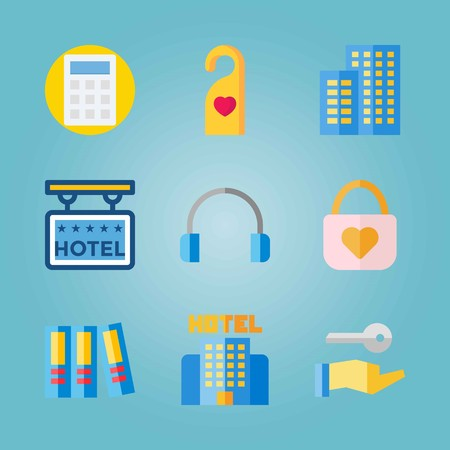 Icon set about Real Assets. with earphones, padlock and doorknob. Ilustrace