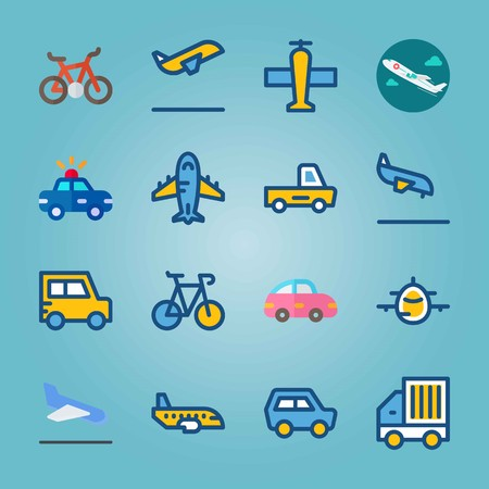 Icon set about Transport. with jet, bicycle and plane.