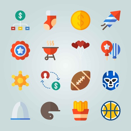 Icon set about United States. with american football ball, baseball helmet and police badge