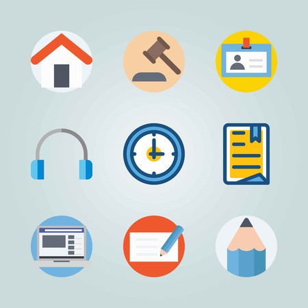 Icon set about Digital Marketing. with watch, law and pencil
