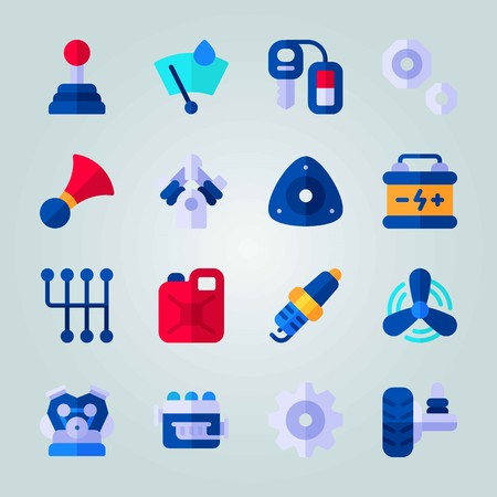 Icon set about Car Engine. with windshield, screw nut and car key Illustration