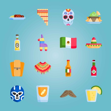 Icon set about Mexican Holiday De Mayo. with tequila, zampona and piata