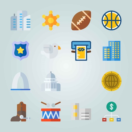 Icon set about United States. with rugby ball, entrance and boot Stock fotó - 94542591