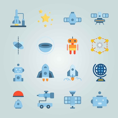 Icon set about Universe. with telescope car, craft and face Vettoriali