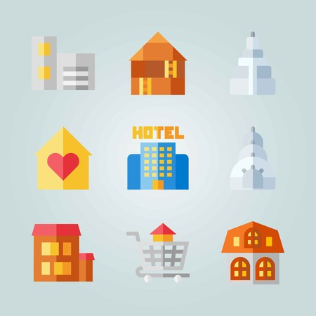 Icon set about Construction. with house, home and buildings Illustration
