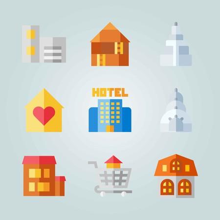 Icon set about Construction. avec maison, maison et bâtiments Banque d'images - 94542687