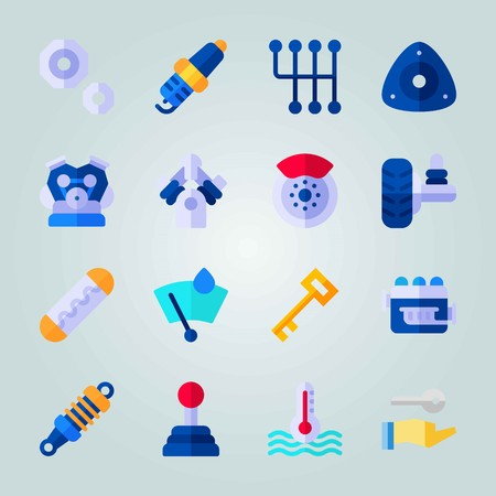 Icon set about Car Engine. with gear, tire and drop of rain