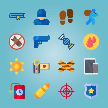 Icon set about Crime Investigation Vectores