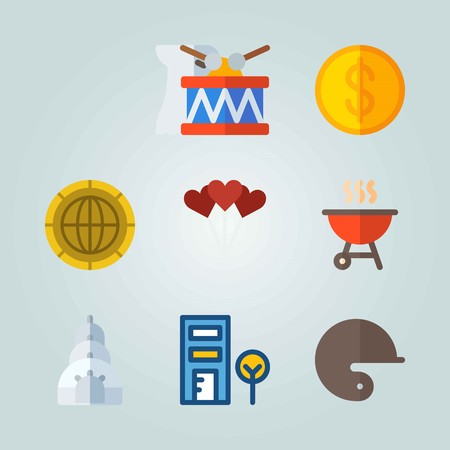 Icon set about United States. with barbecue, coin and balloons Illustration