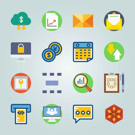Icon set about Marketing. with dollar cloud, browser and key and money